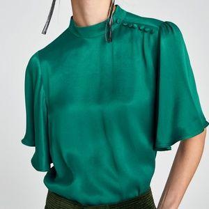 NWT Zara Women Emerald Green Silky Blouse